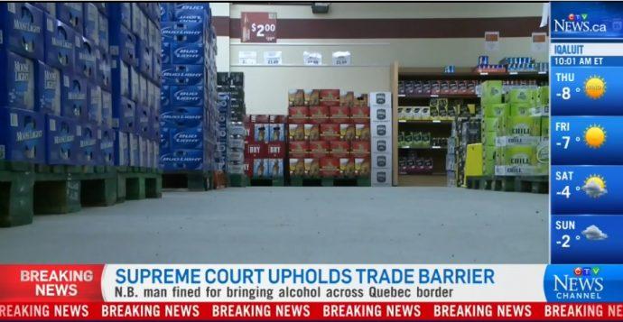 Штраф за ввоз пива и спиртного из Квебека в Нью-Брансуик придется уплатить