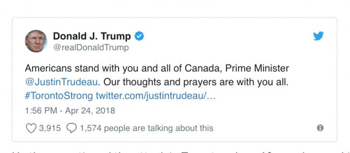 Трамп, принимая Макрона, выразил соболезнования Канаде