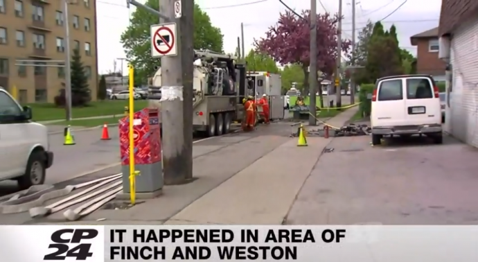 Автомобиль повредил газовую линию в Норс-Йoрке