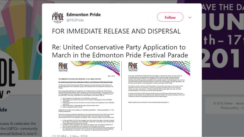 Организаторы гей-парада в Эдмонтоне не допускают участия в нем консерваторов