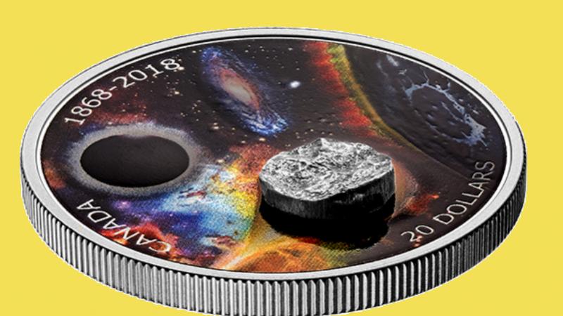 Канадская монета с метеоритом