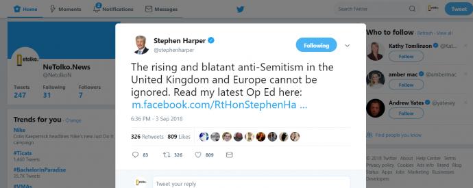Стивен Харпер изобличает антисемитизм лейбористов