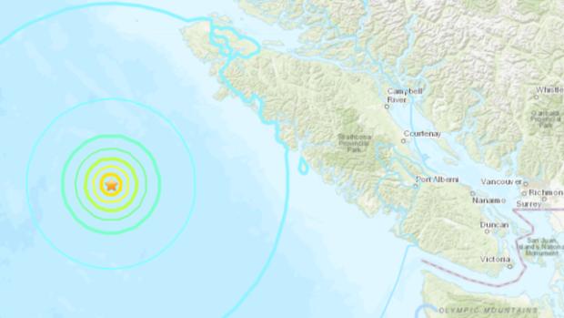 Три землетрясения за час у острова Ванкувер