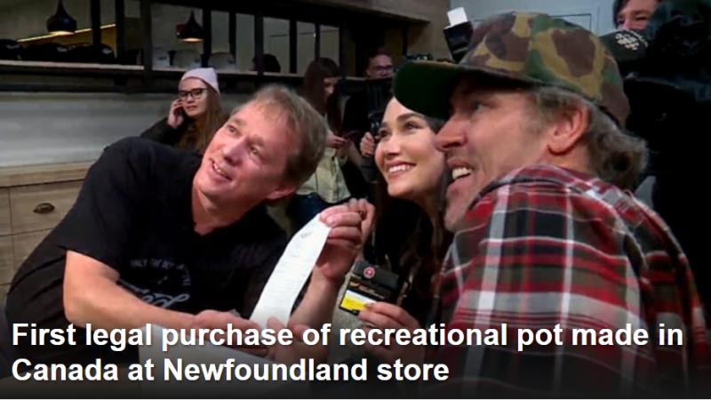 Первая официальная «понюшка» марихуаны приобретена на Ньюфаунленде