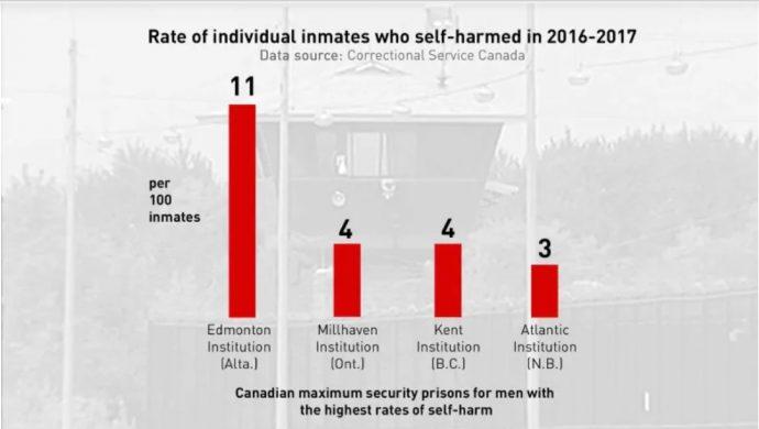 Заключенные в канадских тюрьмах наносят себе травмы