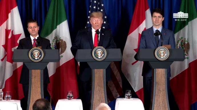 Трюдо, Трамп и Пенья-Ньето подписали договор о свободной торговле