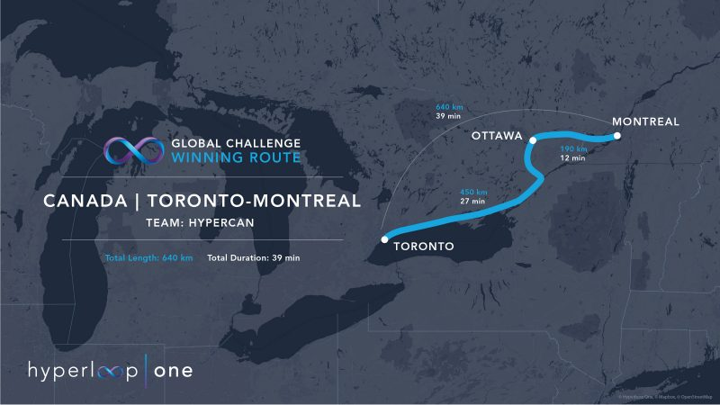 По трубе от Торонто до Оттавы и Монреаля?