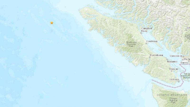 У острова Ванкувер произошло землетрясение