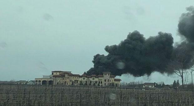 Пожар на винодельческой ферме в Ниагарском регионе