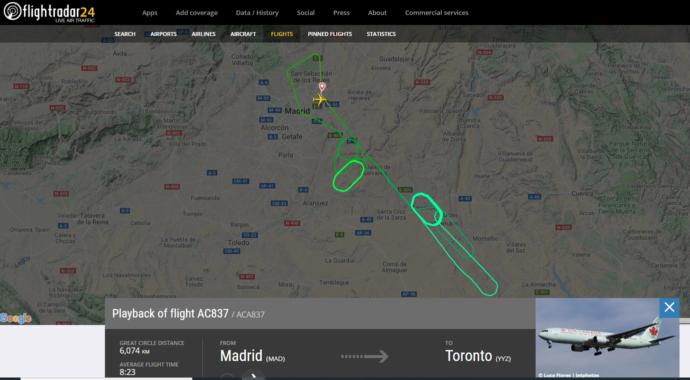 Аварийный канадский «боинг» приземлился в Мадриде